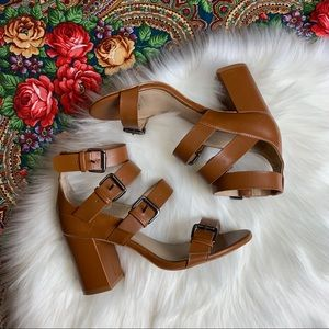 Zara Basic Collection strappy Brown leather heels